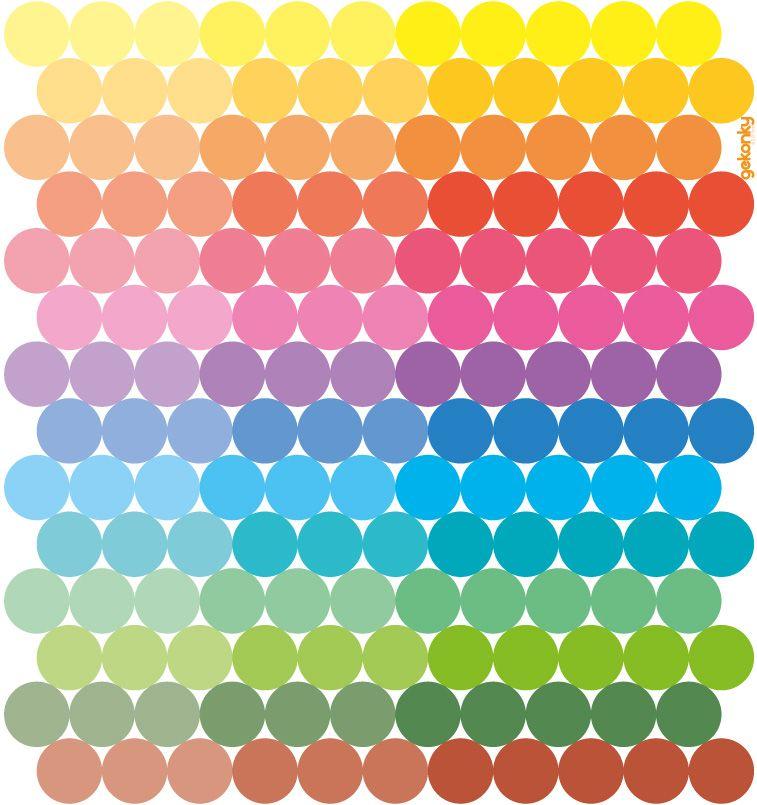 154 pestrobarevných puntíků