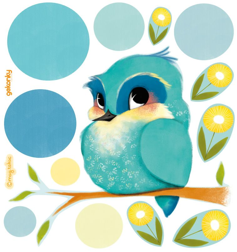 Ptáček Modráček a žluté kvítí