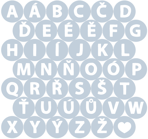 Abeceda – bílá v šedém kolečku