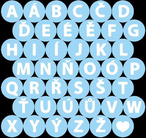 Abeceda – bílá v modrém kolečku